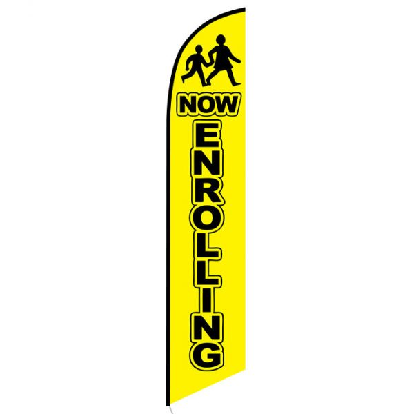 Now Enrolling yellow feather flag