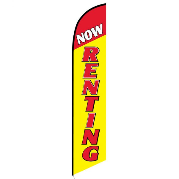 Now renting yellow feather flag