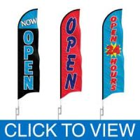 OPEN Feather Flags in Stock