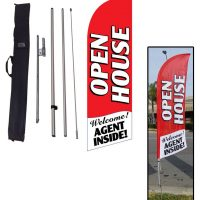 01 Open House red feather flag kit w/ stake & travel bag