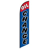 Oil Change Blue and Red Feather Flag