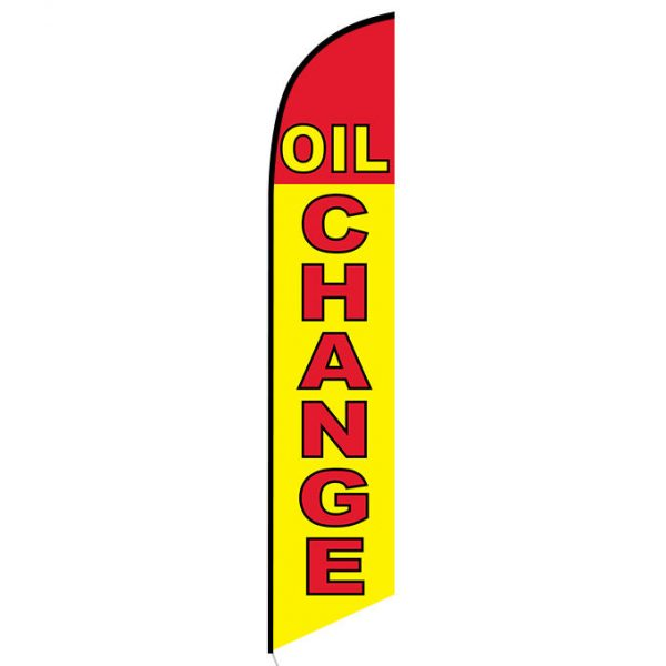 Oil Change Yellow and Red Banner Flag FFN-5215 front