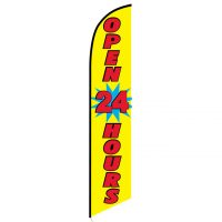 Open 24 Hours (yellow) Feather flag