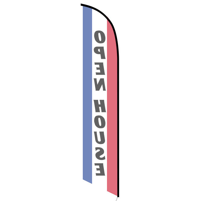 OPEN HOUSE Real Estate Red Blue Swooper Banner Feather Tall Curved Top Bow Flag
