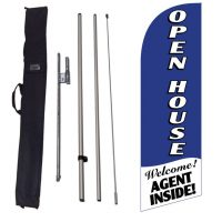 Open House blue Banner Flag Kit w/ Ground Stake and Travel Bag