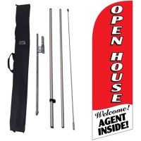 Open House red Banner Flag Kit w/ Ground Stake and Travel Bag