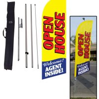 02 Open House yellow feather flag kit w/ stake & bag [Out of stock]