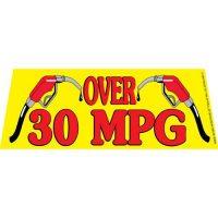 Over 30 MPG windshield banner
