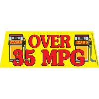 Over 35 MPG V2 windshield banner