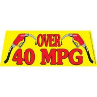 Over 40 MPG windshield banner