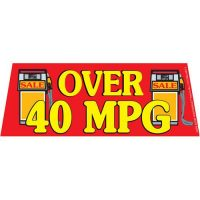 Over 40 MPG Red windshield banner