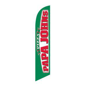 Outdoor advertising Papa Johns feather flag has proven to bring more traffic