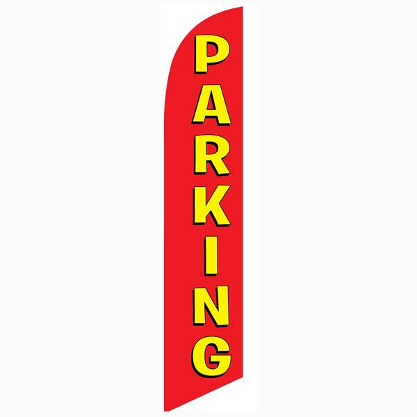 Parking feather flag Red Swooper Banner With Yellow Text 12ft tall