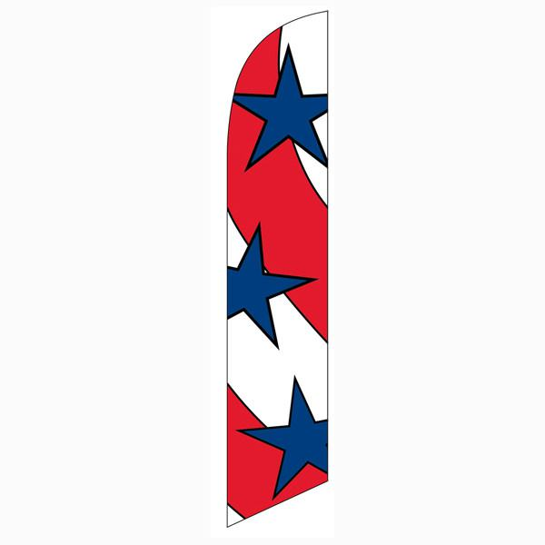 Patriotic decoration feather flag Red and White Stripes Blue Stars Swooper