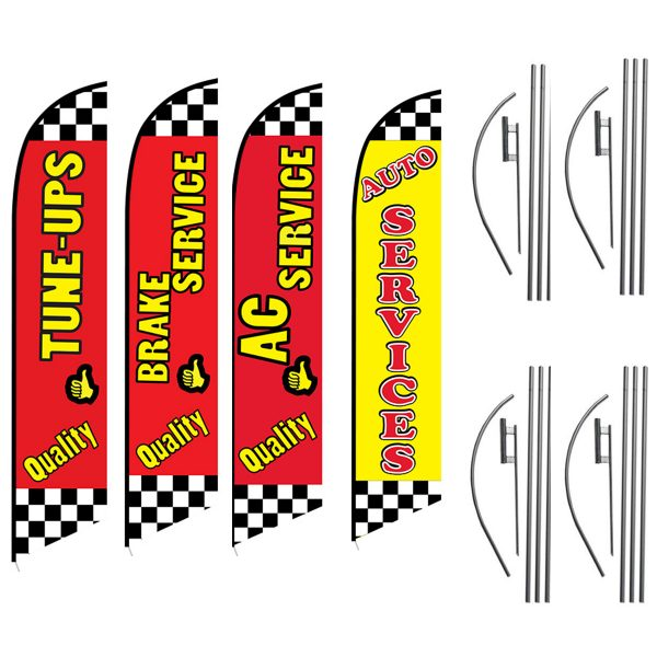 Quality-Tune-Ups-Brake-Service-AC-Service-Auto-Service-Feather-Flag-Package-Great-For-Auto-Shops
