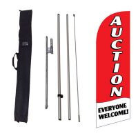 Auction Everyone Welcome Feather Flag Kit w/ Ground Stake and Travel Bag