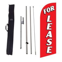 For Lease red Feather Flag Kit w/ Ground Stake and Travel Bag