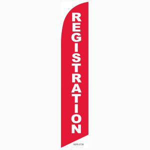 Registration feather flag Red Swooper Banner With Bold White Text Check In