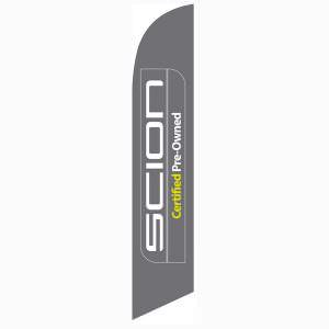 Scion CPO feather flag has a gray background and white/yellow design.