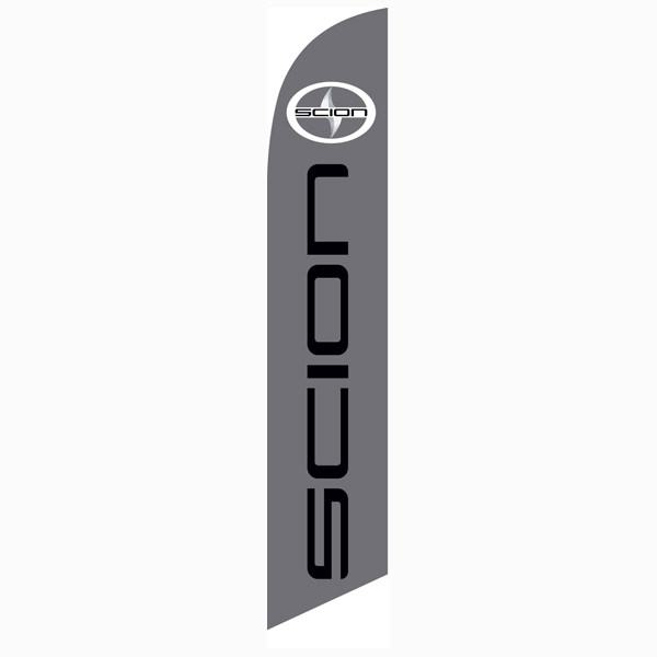Scion feather flag is gray with the Scion logo in digital print.