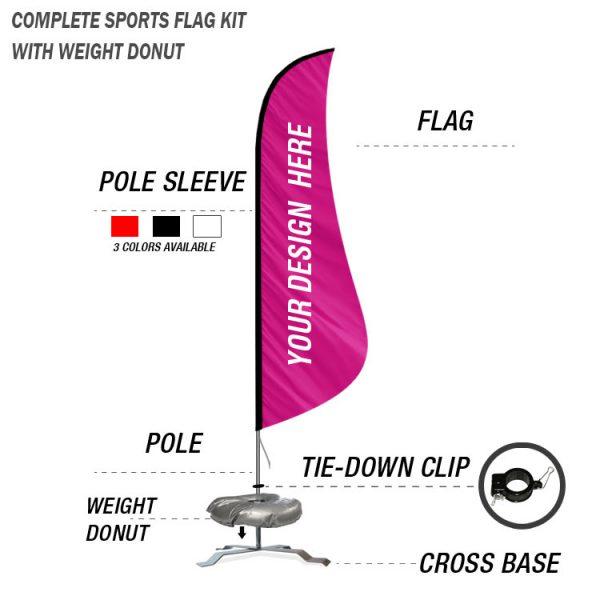 shark fin feather banner custom flag kit cross base