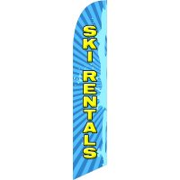Ski Rentals Feather Flag Kit with Ground Stake