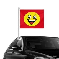 Smiley red Window Clip-on Flags