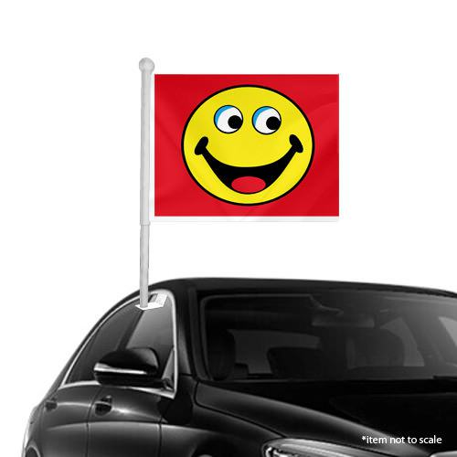 red Smiley Window Clip on Flags