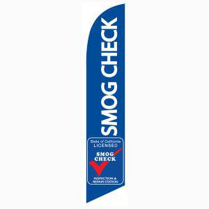 Smog Check Repair Flag Blue 12ft Tall Swooper Banner Licenced Smog Check