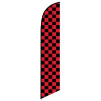 Solid Black and Red Checkers Feather Banner Flag