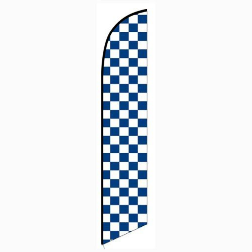 Solid Blue and White Checkers Feather Banner Flag