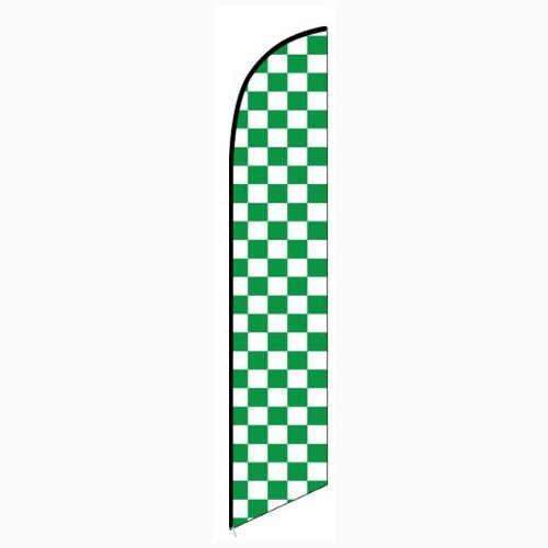 Solid Green and White Checkers Feather Banner Flag