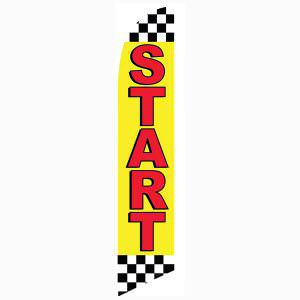 Start feather flag Black and White Checkered Top and Ends Yellow and Red