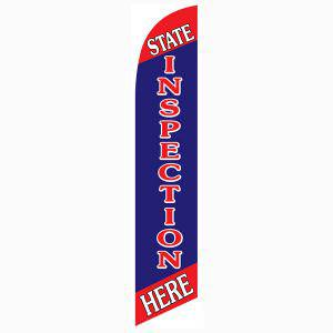 State Inspection Here feather flag to use as your outdoor advertising banner.