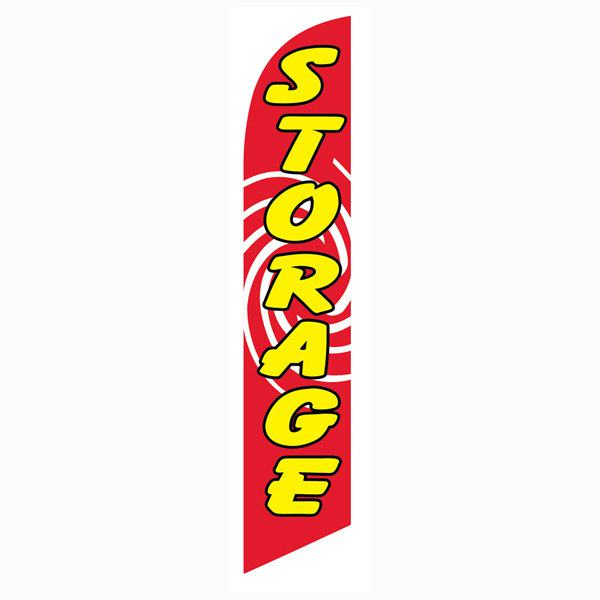 Bright red Storage feather flag to get more traffic to your storage facility