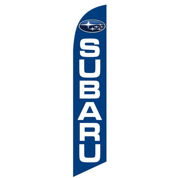 Subaru feather flag bright blue and white feather flag and banner.