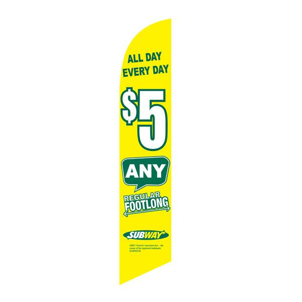 Subway $5 All day feather flag to display this special to your community