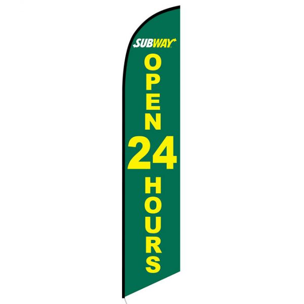 Subway Open 24 Hours banner flag