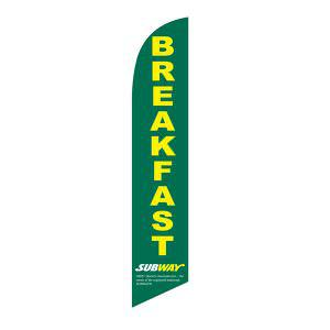 Our popular green Subway breakfast feather flag to use outside your business