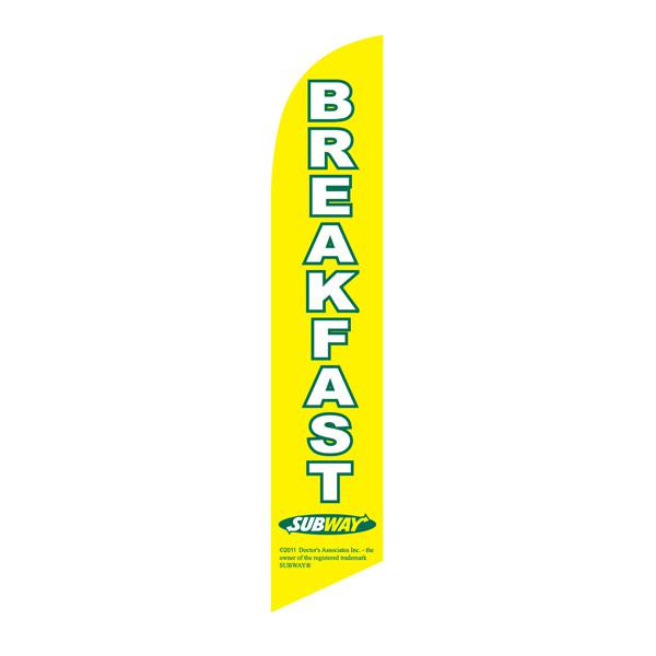 Bright yellow Subway breakfast feather flag is a must have for all locations