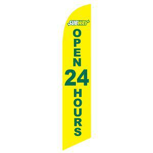 Bright yellow Subway open 24 hours feather flag to let your locals know