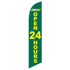 Use this green Subway open 24 hours feather flag as your outdoor banner