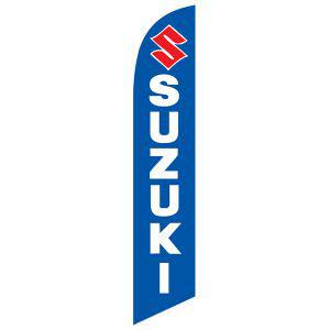 This Suzuki feather flag is a bright blue with a red/white design.
