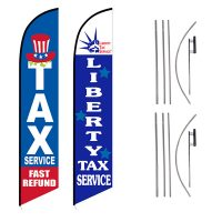 Tax Service Feather Flag – Pack of 2 with Pre-Curved Poles & Ground Spike