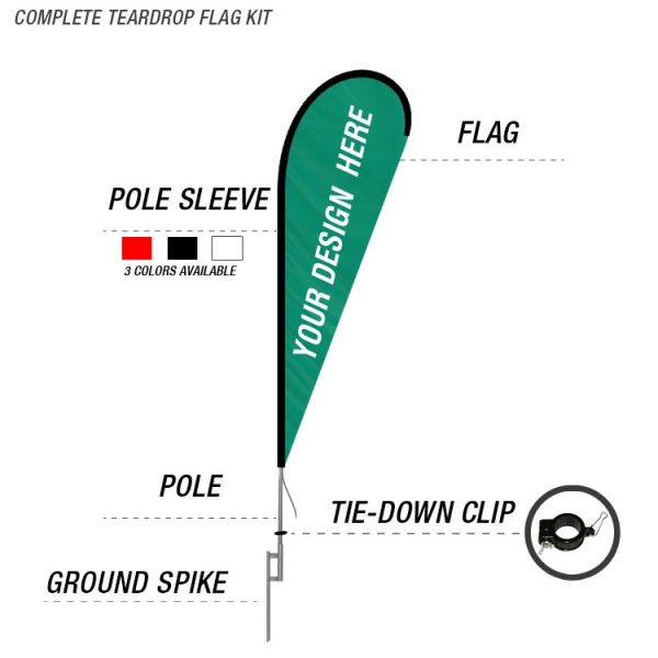 teardrop banner flag kit with poles and ground spike deal
