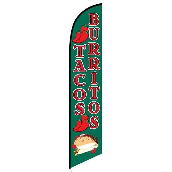 Tacos Burritos Feather Flag