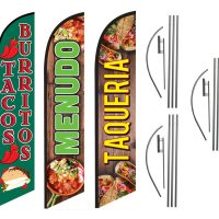 Tacos Menudo Taqueria 3pack Feather Flag Kits (3 Flags + 3 Pole Kits + 3 Ground Spikes)
