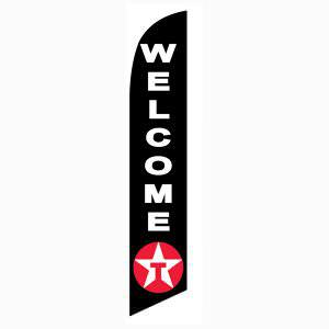 Use Texaco Welcome feather flag as your welcoming outdoor banner