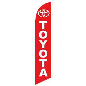 The red Toyota feather flag has a red background and white design.