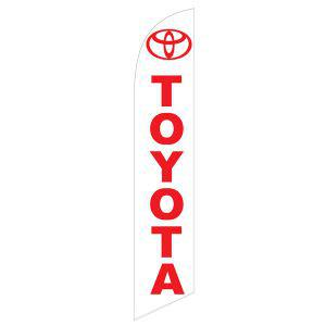 The white Toyota feather flag has a white background and red design.